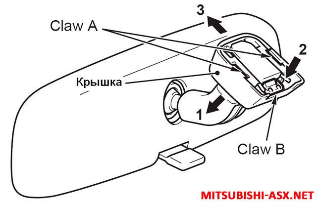 Снятие штатного салонного зеркала заднего вида в Mitsubishi ASX