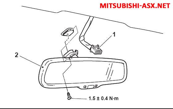 Установка штатного зеркала с монитором и камеры заднего вида Mitsubishi ASX