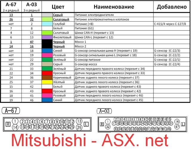мицубиси асх  цвета