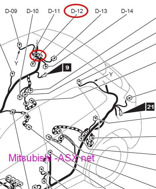 схема подключения фаркопа Mitsubishi ASX
