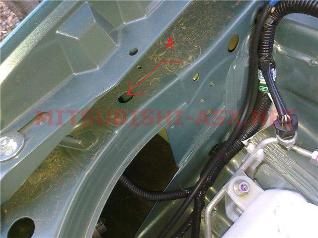 Установка подъемника капота Mitsubishi ASX