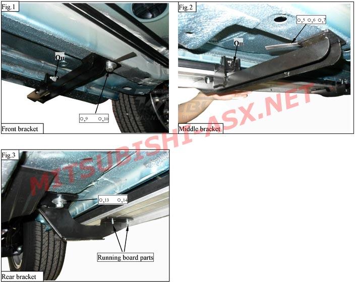 Установка алюминивыех подножек Mitsubishi ASX