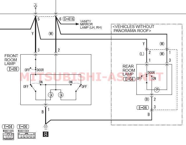 Схема подключения переднего плафона Mitsubishi ASX