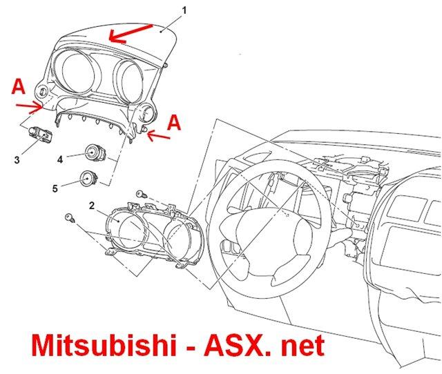 Снимаем приборную панель Mitsubishi ASX
