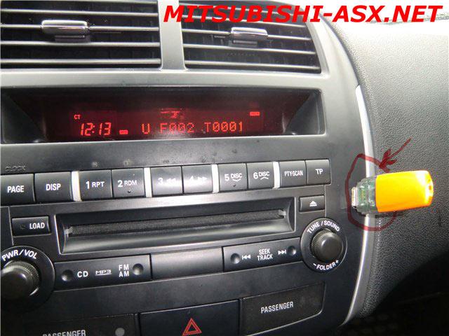 USB на магнитоле Mitsubishi ASX