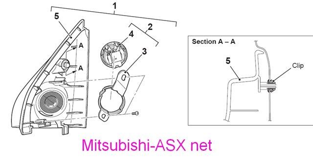 Звмена наружного зеркала Mitsubishi ASX