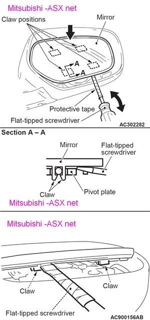 Звмена наружного зеркала Мицубиси АСХ